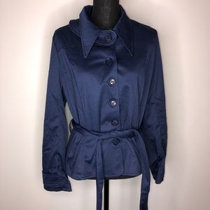 Eliza Parker Blue Button Plush Belted Jacket 10